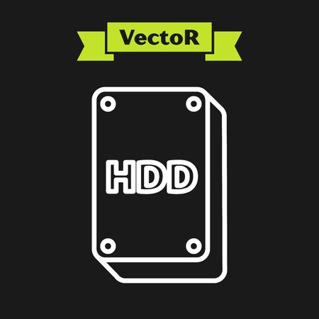 White line Hard disk drive HDD icon isolated on black background. Vector Illustration Ilustração