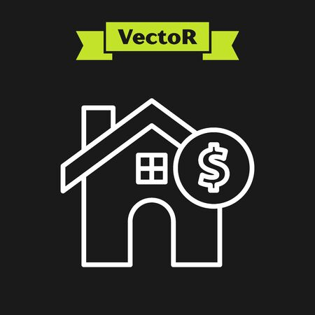 White line House with dollar symbol icon isolated on black background. Home and money. Real estate concept. Vector Illustration