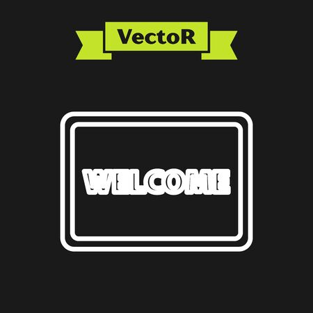 White line Doormat with the text Welcome icon isolated on black background. Welcome mat sign. Vector Illustration Illustration