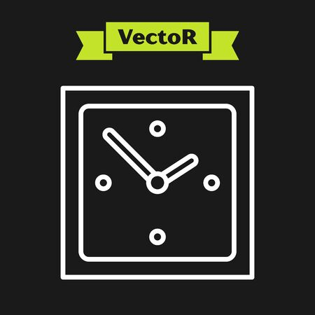 White line Clock icon isolated on black background. Time symbol. Vector Illustration