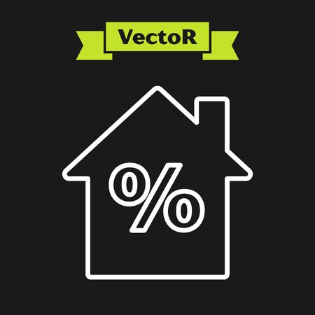 White line House with percant discount tag icon isolated on black background. House percentage sign price. Real estate home. Vector Illustration Ilustrace