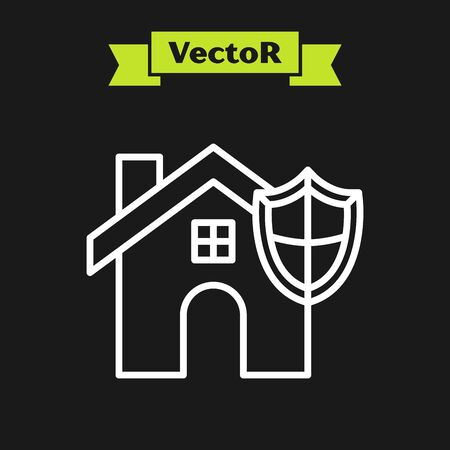 White line House with shield icon isolated on black background. Insurance concept. Security, safety, protection, protect concept. Vector Illustration