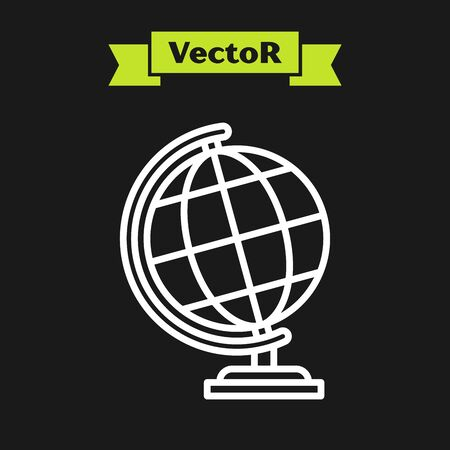 White line Earth globe icon isolated on black background. Vector Illustration