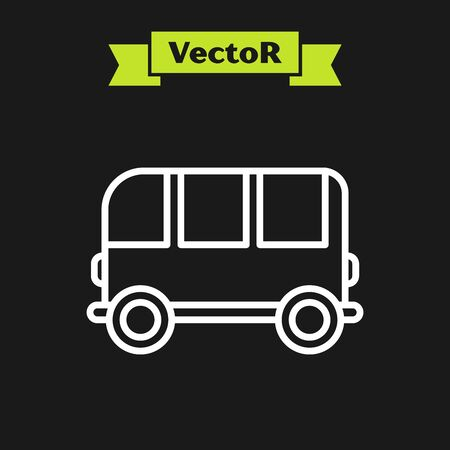 White line School Bus icon isolated on black background. Vector Illustration Ilustracja