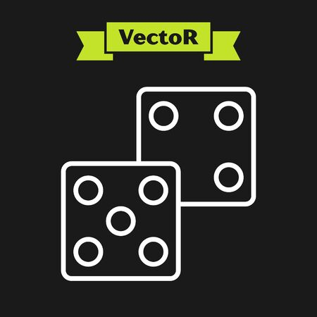 White line Game dice icon isolated on black background. Casino gambling. Vector Illustration