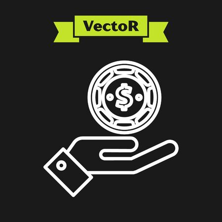 White line Hand holding casino chips icon isolated on black background. Casino gambling. Vector Illustration