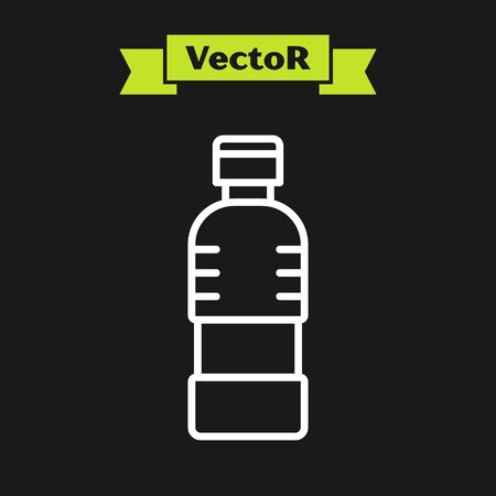 White line Bottle of water icon isolated on black background. Soda aqua drink sign. Vector Illustration Archivio Fotografico - 133920846