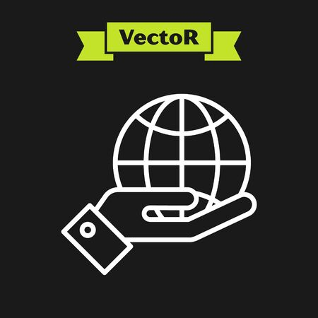 White line Human hands holding Earth globe icon isolated on black background. Save earth concept. Vector Illustration Ilustração