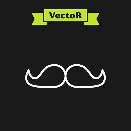 White line Mustache icon isolated on black background. Barbershop symbol. Facial hair style. Vector Illustration
