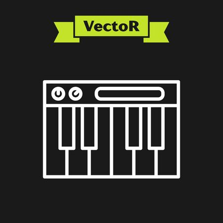 White line Music synthesizer icon isolated on black background. Electronic piano. Vector Illustration