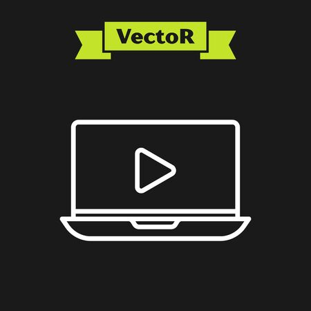 White line Online play video icon isolated on black background. Laptop and film strip with play sign. Vector Illustration Illustration
