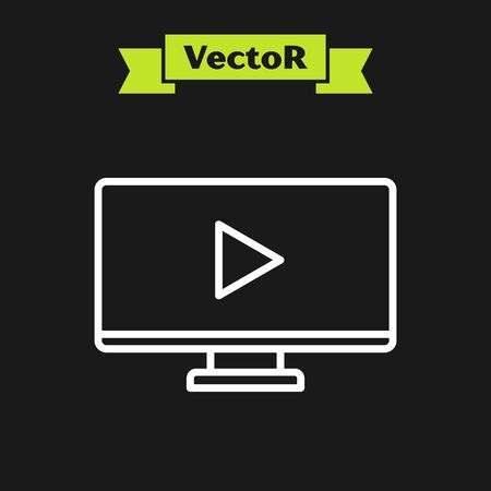 White line Online play video icon isolated on black background. Computer monitor and film strip with play sign. Vector Illustration