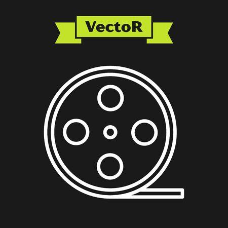 White line Film reel icon isolated on black background. Vector Illustration