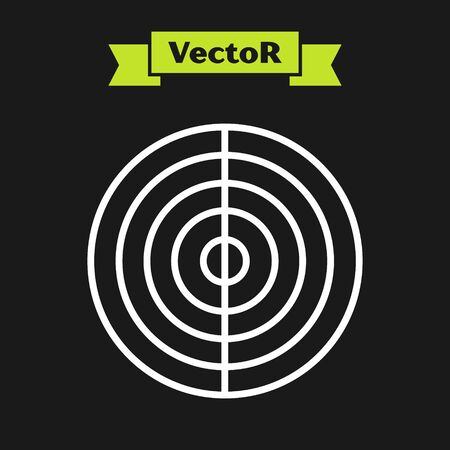 White line Earth structure icon isolated on black background. Geophysics concept with earth core and section layers earth. Vector Illustration