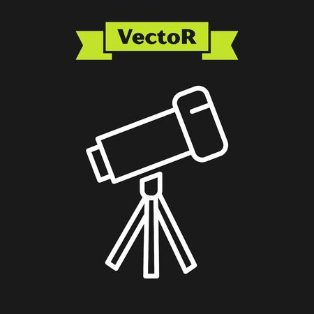 White line Telescope icon isolated on black background. Scientific tool. Education and astronomy element, spyglass and study stars. Vector Illustration Ilustrace