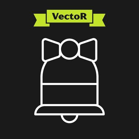 White line Merry Christmas ringing bell icon isolated on black background. Alarm symbol, service bell, handbell sign, notification symbol. Vector Illustration Иллюстрация