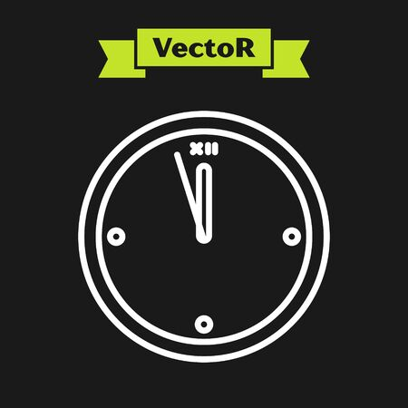 White line Clock icon isolated on black background. Time symbol. Merry Christmas and Happy New Year. Vector Illustration