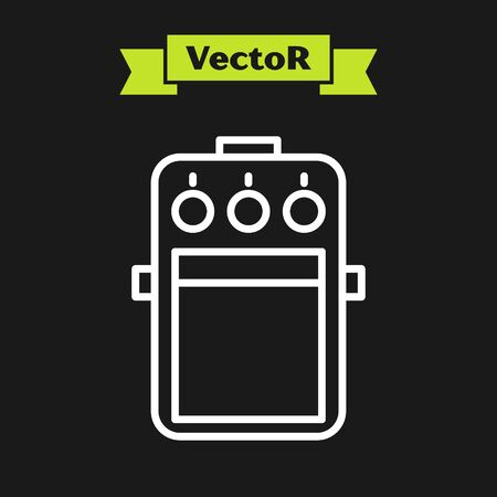 White line Guitar pedal icon isolated on black background. Musical equipment. Vector Illustration