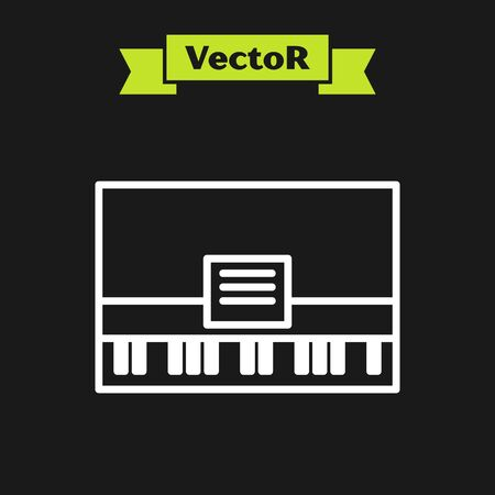 White line Piano icon isolated on black background. Musical instrument. Vector Illustration