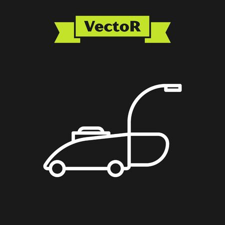 White line Lawn mower icon isolated on black background. Lawn mower cutting grass. Vector Illustration