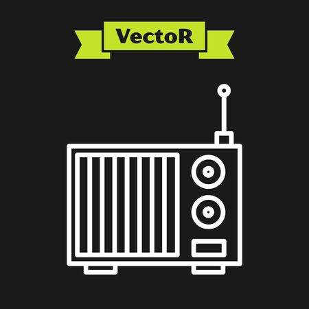 White line Radio with antenna icon isolated on black background. Vector Illustration