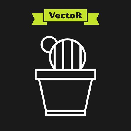 White line Cactus and succulent in pot icon isolated on black background. Plant growing in a pot. Potted plant sign. Vector Illustration