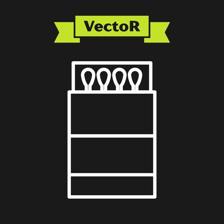 White line Open matchbox and matches icon isolated on black background. Vector Illustration