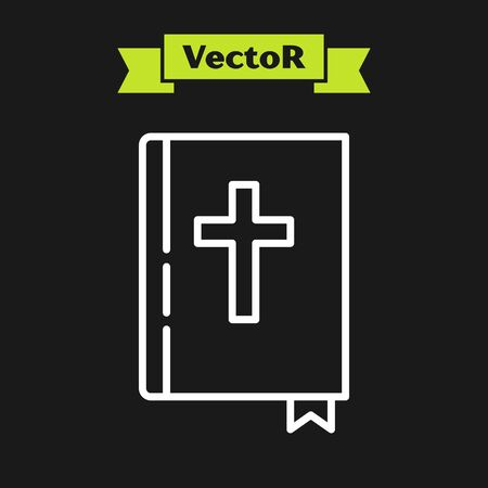White line Holy bible book icon isolated on black background. Vector Illustration
