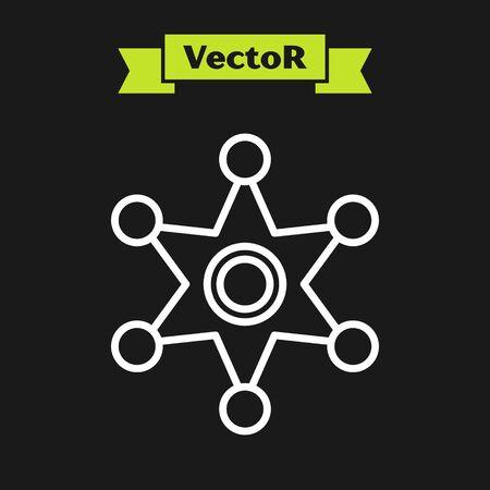 White line Hexagram sheriff icon isolated on black background. Police badge icon. Vector Illustration