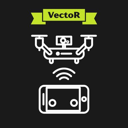 White line Remote aerial drone with a camera taking photography or video recording icon isolated on black background. Vector Illustration