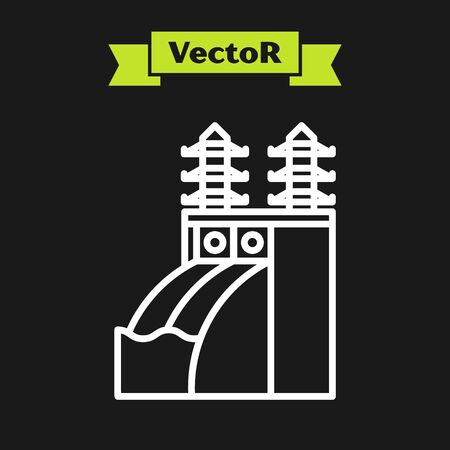 White line Nuclear power plant icon isolated on black background. Energy industrial concept. Vector Illustration