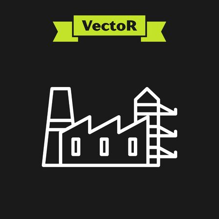 White line Power station plant and factory icon isolated on black background. Energy industrial concept. Vector Illustration Banque d'images - 133924540