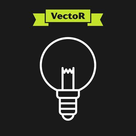White line Light bulb with concept of idea icon isolated on black background. Energy and idea symbol. Inspiration concept. Vector Illustration Ilustração