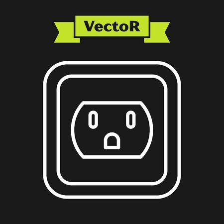 White line Electrical outlet in the USA icon isolated on black background. Power socket. Vector Illustration