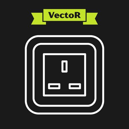 White line Electrical outlet icon isolated on black background. Power socket. Rosette symbol. Vector Illustration