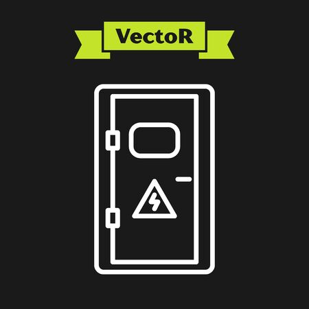 White line Electrical cabinet icon isolated on black background. Vector Illustration