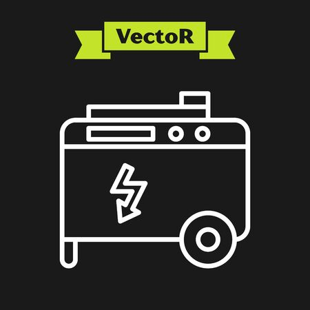 White line Portable power electric generator icon isolated on black background. Industrial and home immovable power generator. Vector Illustration Vettoriali