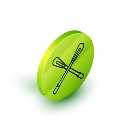 Isometric line Crossed paddle icon isolated on white background. Paddle boat oars. Green circle button. Vector Illustration