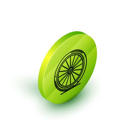 Isometric line Bicycle wheel icon isolated on white background. Bike race. Extreme sport. Sport equipment. Green circle button. Vector Illustration