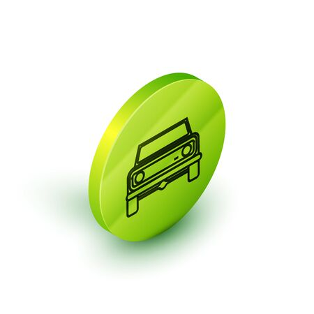 Isometric line Off road car icon isolated on white background. Green circle button. Vector Illustration 일러스트