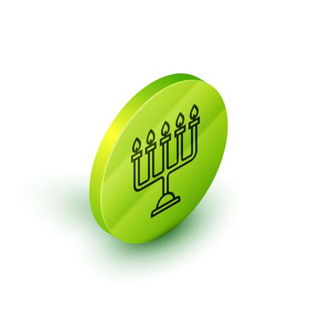 Isometric line Hanukkah menorah icon isolated on white background. Hanukkah traditional symbol. Holiday religion, jewish festival of Lights. Green circle button. Vector Illustration