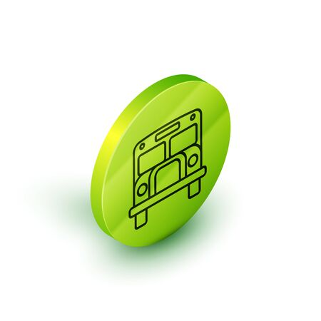 Isometric line School Bus icon isolated on white background. Public transportation symbol. Green circle button. Vector Illustration
