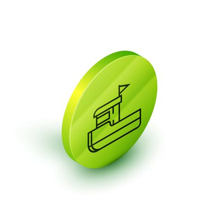 Isometric line Fishing boat icon isolated on white background. Green circle button. Vector Illustration
