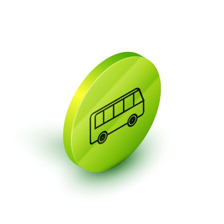 Isometric line Bus icon isolated on white background. Transportation concept. Bus tour transport sign. Tourism or public vehicle symbol. Green circle button. Vector Illustration Ilustracja