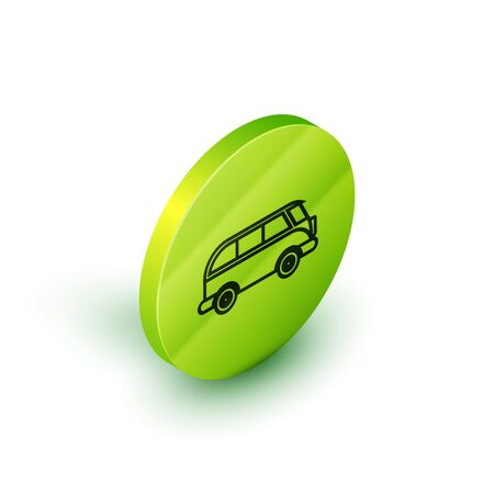 Isometric line Retro minivan icon isolated on white background. Old retro classic traveling van. Green circle button. Vector Illustration