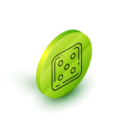 Isometric line Game dice icon isolated on white background. Casino gambling. Green circle button. Vector Illustration Иллюстрация