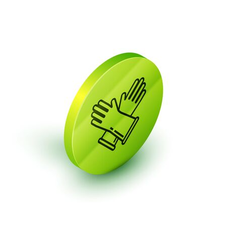 Isometric line Rubber gloves icon isolated on white background. Latex hand protection sign. Housework cleaning equipment symbol. Green circle button. Vector Illustration