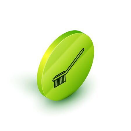 Isometric line Toilet brush icon isolated on white background. Green circle button. Vector Illustration Иллюстрация