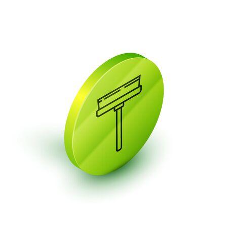 Service de nettoyage de ligne isométrique avec du nettoyant en caoutchouc pour l'icône de windows isolé sur fond blanc. Raclette, grattoir, essuie-glace. Bouton cercle vert. Illustration vectorielle Vecteurs