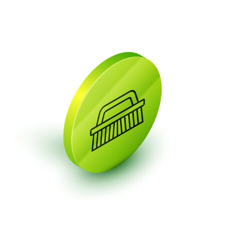 Isometric line Brush for cleaning icon isolated on white background. Green circle button. Vector Illustration Иллюстрация